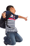 Child Happy Because is Back to School Time Royalty Free Stock Image