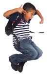 Child Happy Because is Back to School Time royalty free stock photos