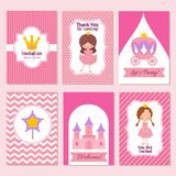 Child happy birthday and princess party pink invitation vector template