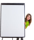 Child happy girl with blank flip chart white copy space Stock Photography