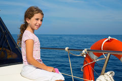 Child happy girl sailing happy  boat Royalty Free Stock Photography