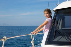 Child happy girl sailing happy  boat Stock Photo