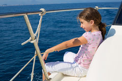 Child happy girl sailing happy  boat Royalty Free Stock Photos