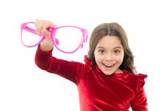 Child happy with good eyesight. Eyesight and eye health. Improve eyesight. Girl kid wear big eyeglasses isolated white. Background. Optics and eyesight stock images