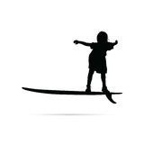 Child happy silhouette with surfboard in black illustration Stock Images