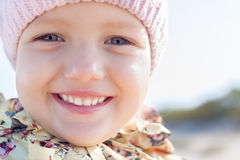 Child happy smile little girl. Close up outdoor Royalty Free Stock Photo