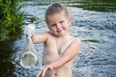 The child has fished Stock Photography