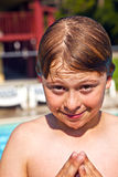 Child has fun in the pool Royalty Free Stock Photography