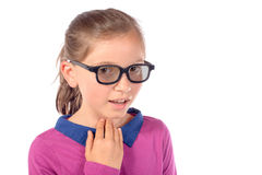 A child has a sore throat Stock Photo
