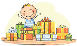 Child has too many presents Royalty Free Stock Image