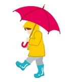 Child has an Umbrella,Isolated Royalty Free Stock Photos