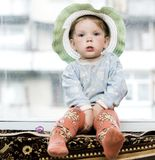 Child with a hat royalty free stock images