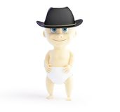 Child in a hat mafia. 3d Illustrations on a white background Stock Photo