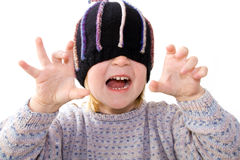 Child hat surprise isolated white Stock Photo