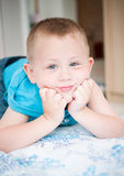 Child have fun in bed Royalty Free Stock Photo