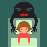 Child having bad dreams. Nightmare, vector cartoon illustration of person having bad dreams Royalty Free Stock Photography
