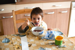 Child having breakfast Stock Photo