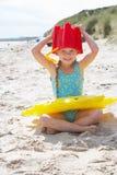 Child having fun on beach royalty free stock photo