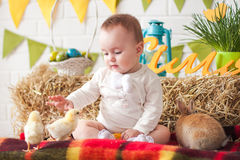 Child having fun with Easter bunny and chickens Stock Photography