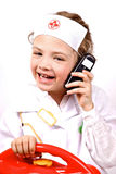 Child having fun of playing a doctor Stock Photos