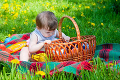 Child having picnic Royalty Free Stock Images