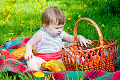 Child having picnic Stock Images