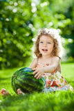 Child having picnic outdoors Stock Image
