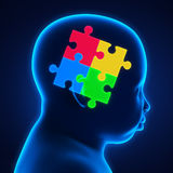 Child Head with Jigsaw Puzzle Stock Photos