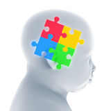 Child Head with Jigsaw Puzzle Royalty Free Stock Photography