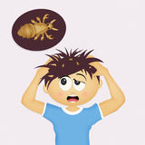Child with head lice. Illustration of child with head lice Royalty Free Stock Images
