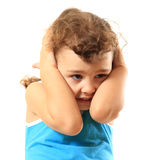 Child with headache, head pain, abuse royalty free stock images
