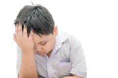 Child headache. On white background stock photos