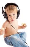 Child with headphones Stock Image