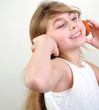 Child with headphones Stock Photography