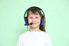 Child in headphones Royalty Free Stock Photography