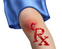 Child Health Care. And pediatric medicine medical concept with a human child knee as a physical bleeding injury in the shape of RX pharmacy symbol as an icon of Stock Photo