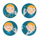 Child health check. Cartoon  illustrations Royalty Free Stock Photos