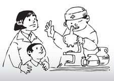 Child health checkup. Hand draw illustration of a mother taking her son to do a child health checkup Royalty Free Stock Image
