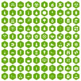 100 child health icons hexagon green. 100 child health icons set in green hexagon isolated vector illustration Stock Photo