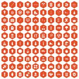 100 child health icons hexagon orange. 100 child health icons set in orange hexagon isolated vector illustration Royalty Free Stock Images