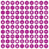 100 child health icons hexagon violet. 100 child health icons set in violet hexagon isolated vector illustration royalty free illustration