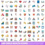 100 child health icons set, cartoon style. 100 child health icons set. Cartoon illustration of 100 child health vector icons isolated on white background stock illustration