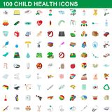 100 child health icons set, cartoon style. 100 child health icons set in cartoon style for any design illustration vector illustration