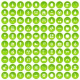 100 child health icons set green circle. Isolated on white background vector illustration Royalty Free Stock Photos