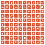 100 child health icons set grunge orange. 100 child health icons set in grunge style orange color isolated on white background vector illustration Stock Images