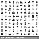 100 child health icons set, simple style Royalty Free Stock Image