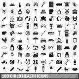100 child health icons set, simple style. 100 child health icons set in simple style for any design vector illustration Royalty Free Stock Images