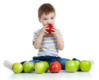 Child with healthy food apples Stock Photos