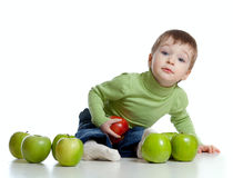 Child with healthy food red and green apples Royalty Free Stock Images