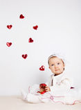 Child with hearts Stock Images